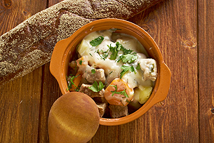 Blanquette de veau -  is a French veal ragout.farm-style